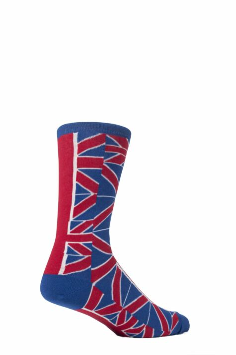 Mens 1 Pair SockShop Union Jack Design Cotton Rich Socks Product Image