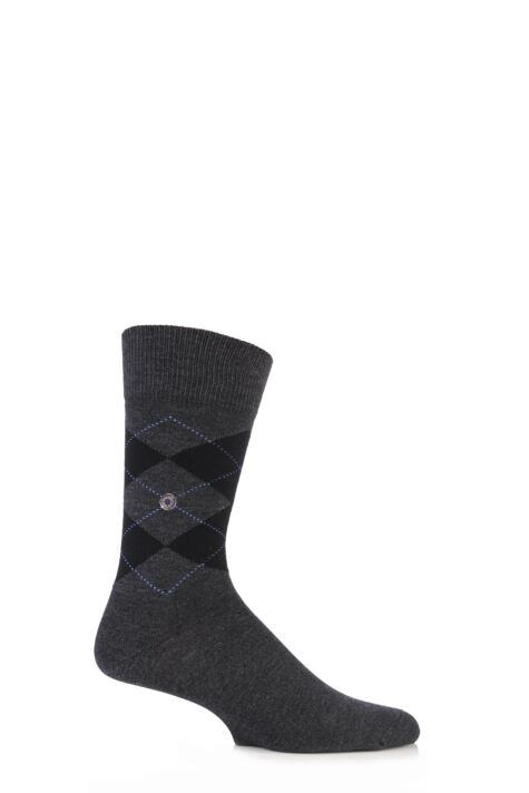 Mens 1 Pair Burlington Denim Argyle Cotton Socks Product Image