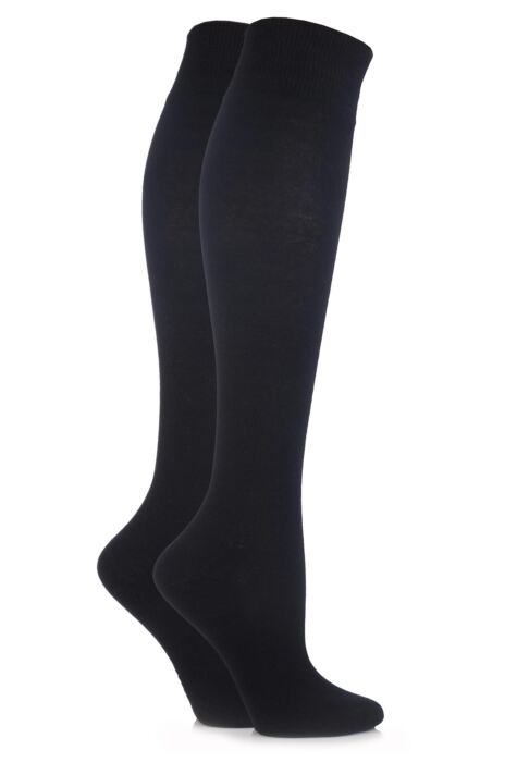 Ladies 2 Pair Elle Plain Cotton Knee Highs Product Image