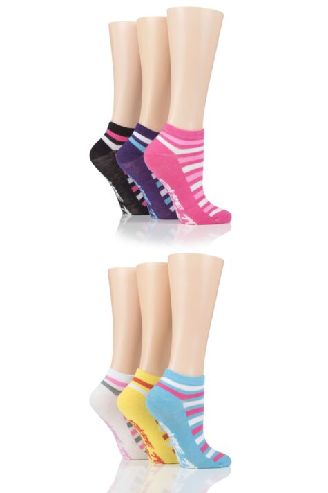 Ladies 6 Pair SOCKSHOP Dare to Wear Patterned Trainer Socks Product Image