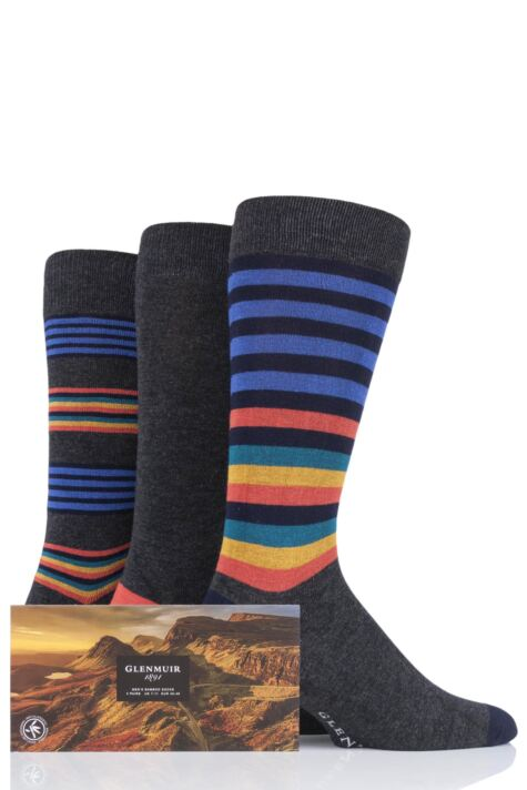 Mens 3 Pair Glenmuir Stripes and Plain Gift Boxed Bamboo Socks Product Image