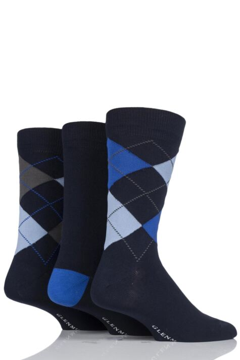 Mens 3 Pair Glenmuir Classic Bamboo Argyle Socks Product Image