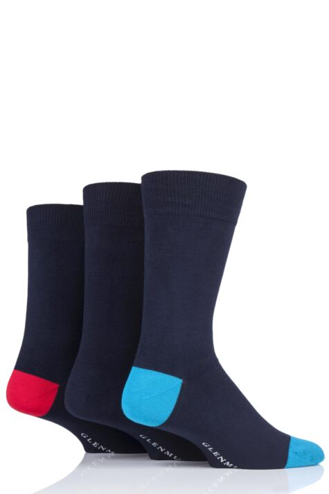 Mens 3 Pair Glenmuir Contrast Heel Navy Bamboo Socks Product Image