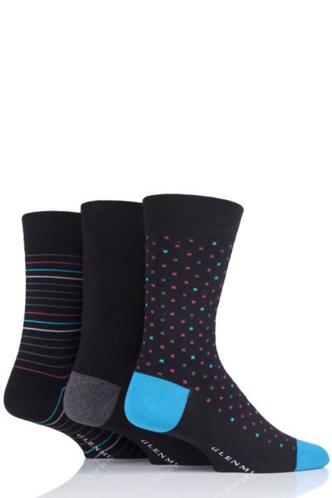 Mens 3 Pair Glenmuir Patterned Black Bamboo Socks Product Image