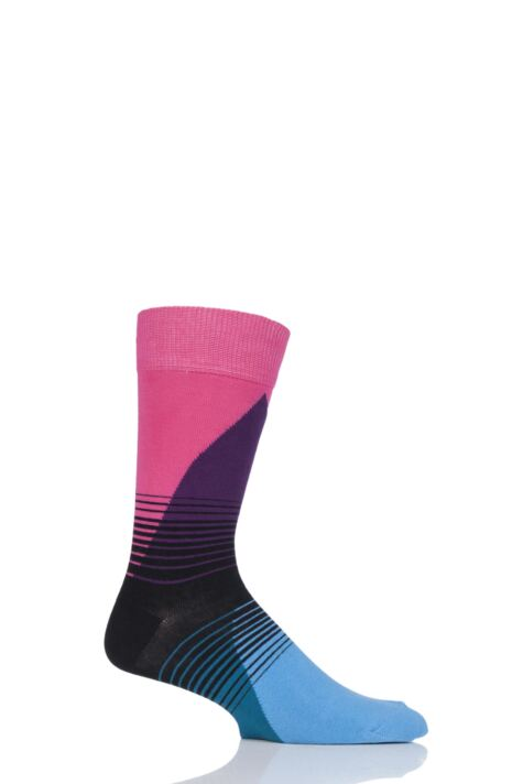 Mens and Ladies 1 Pair Happy Socks 80's Fade Combed Cotton Socks Product Image