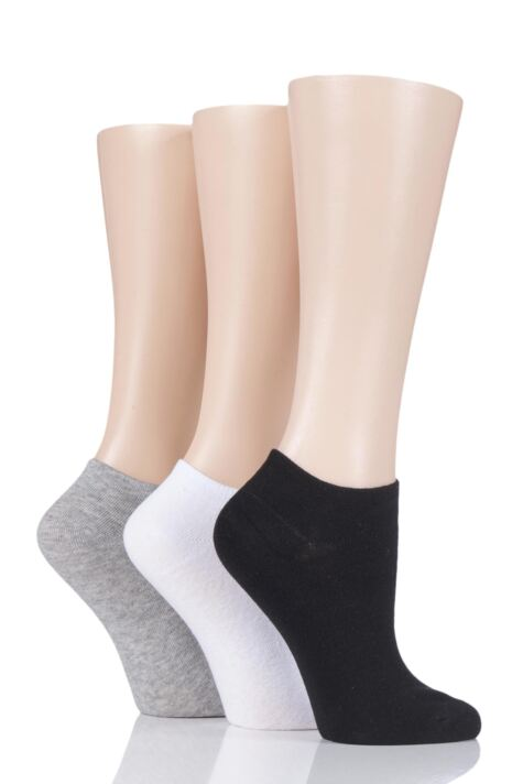 Ladies 3 Pair Pringle Plain Cotton Secret Socks Product Image