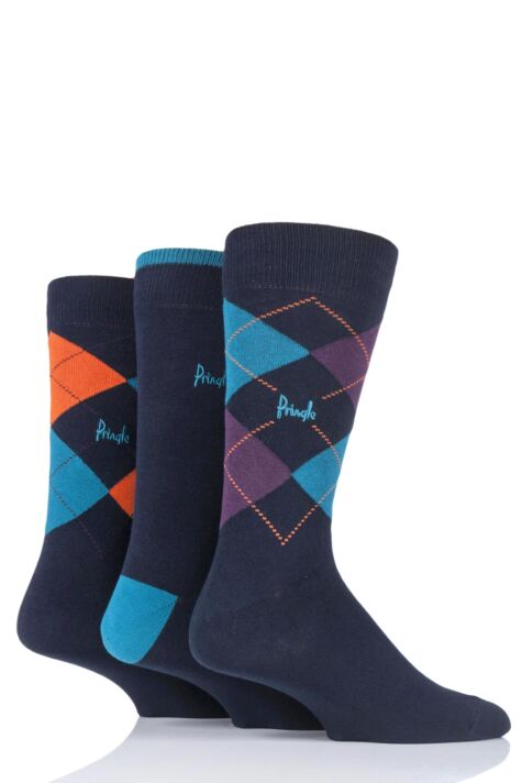 Mens 3 Pair Pringle New Waverley Argyle Patterned and Plain Socks Product Image