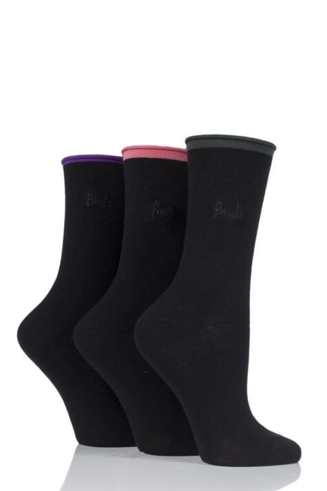 Ladies 3 Pair Pringle Rebecca Contrast Roll Top Socks Product Image