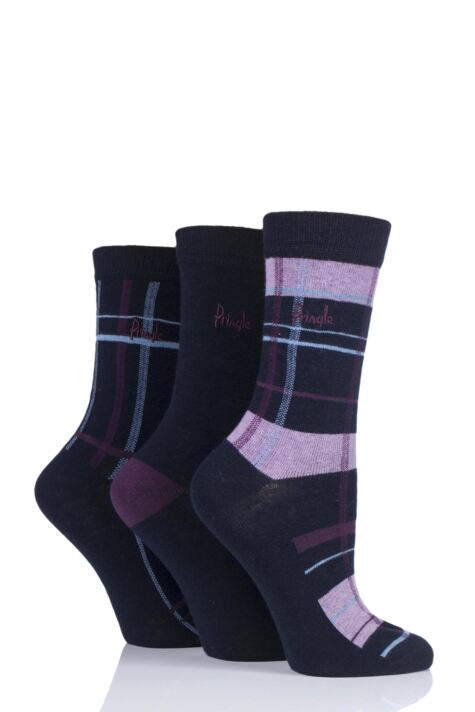 Ladies 3 Pair Pringle Tartan Cotton Socks Product Image
