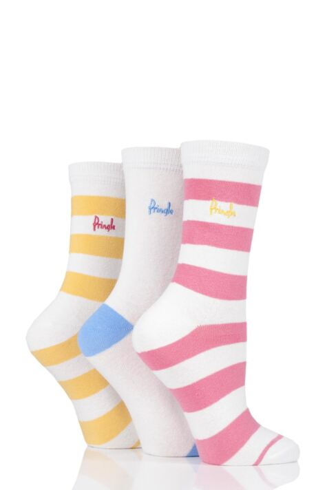 Ladies 3 Pair Pringle June Striped Cotton Socks Product Image