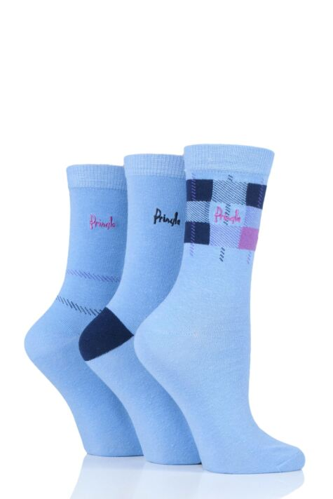 Ladies 3 Pair Pringle Serena Check Cotton Socks Product Image