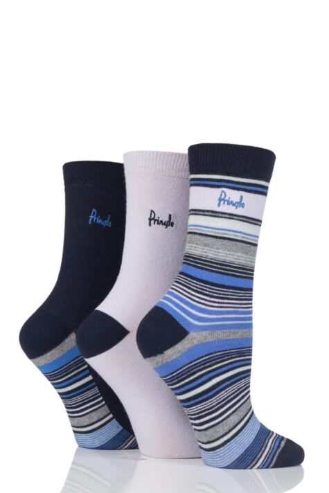 Ladies 3 Pair Pringle Gail Stripes and Plain Cotton Socks Product Image