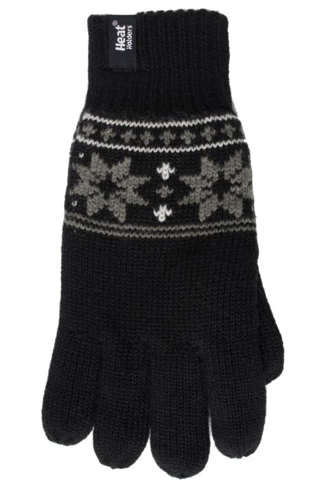 Mens 1 Pair Heat Holders 2.3 Tog Fairisle Gloves In Black Product Image