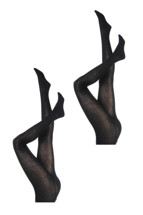 Ladies 2 Pair Elle Plain Bamboo Tights Product Image