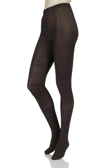 Ladies 1 Pair Elle Winter Soft Fair Isle Patterned Tights Product Image