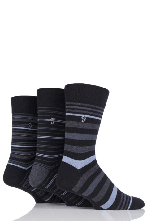 Mens 3 Pair Farah Classic Luxury Stripe Cotton Socks Product Image