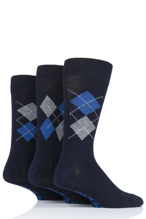 Mens 3 Pair Farah Luxury Bamboo Argyle Socks Product Image