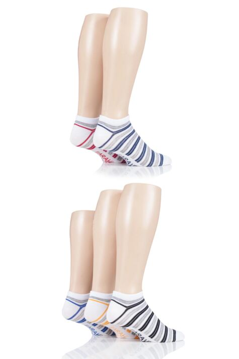 Mens 5 Pair Farah Striped Bamboo Trainer Socks Product Image