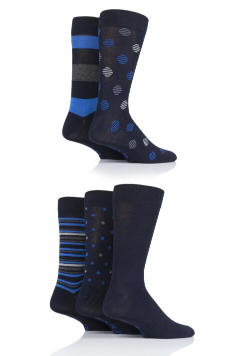 Mens 5 Pair Farah Classic Patterned Bamboo Socks Product Image