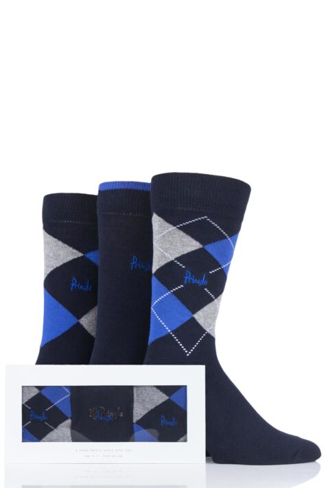 Mens 3 Pair Pringle Argyle and Plain Gift Boxed Cotton Socks Product Image