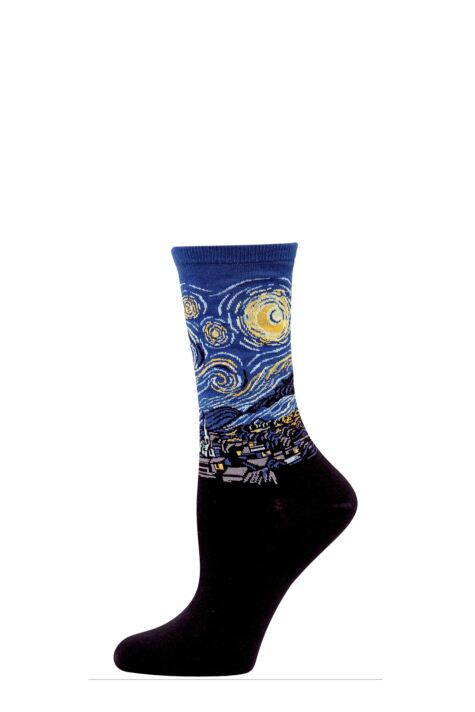Ladies 1 Pair HotSox Artist Collection Starry Night Cotton Socks Product Image