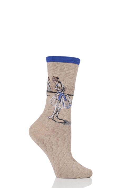Ladies 1 Pair HotSox Artist Collection Degas Study Dancer Cotton Socks Product Image