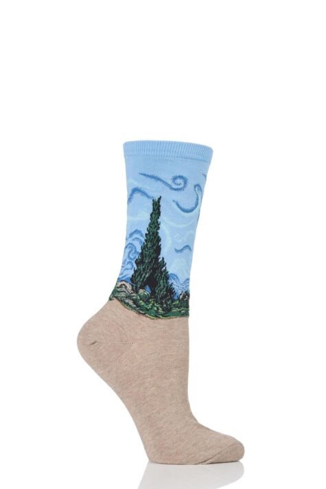 Ladies 1 Pair HotSox Artist Collection A Wheatfield with Cypresses Cotton Socks Product Image