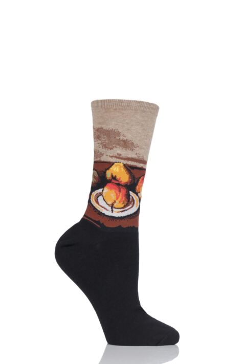 Ladies 1 Pair HotSox Artist Collection Still Life Plate and Fruit Cotton Socks Product Image