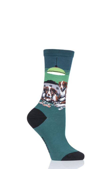 Ladies 1 Pair HotSox Artist Collection Dogs Playing Poker - Coolidge Cotton Socks Product Image