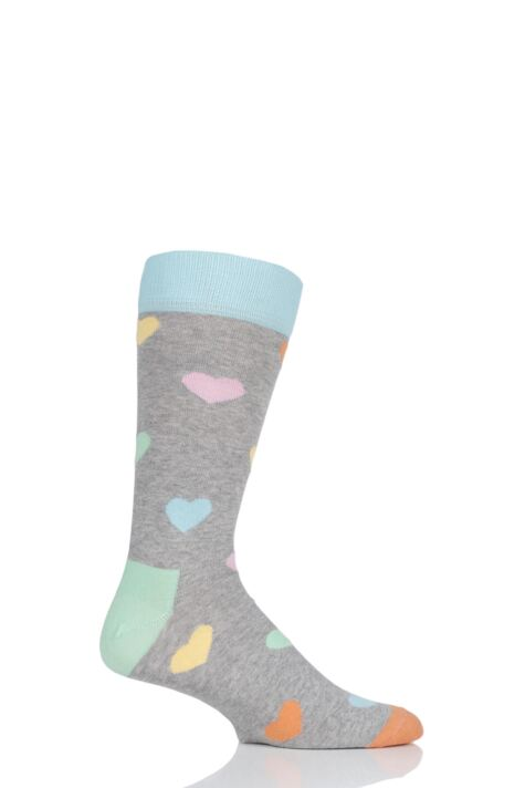 Mens and Ladies 1 Pair Happy Socks Heart Combed Cotton Socks Product Image