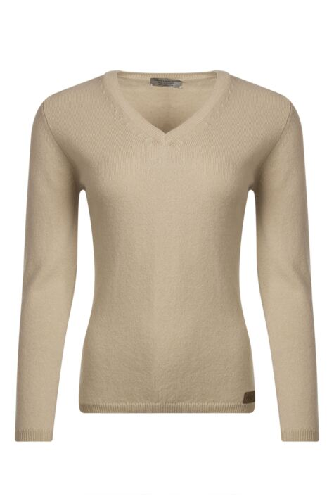 Ladies Great & British Knitwear 100% Lambswool V Neck Jumper with Elbow Patch Detail Product Image