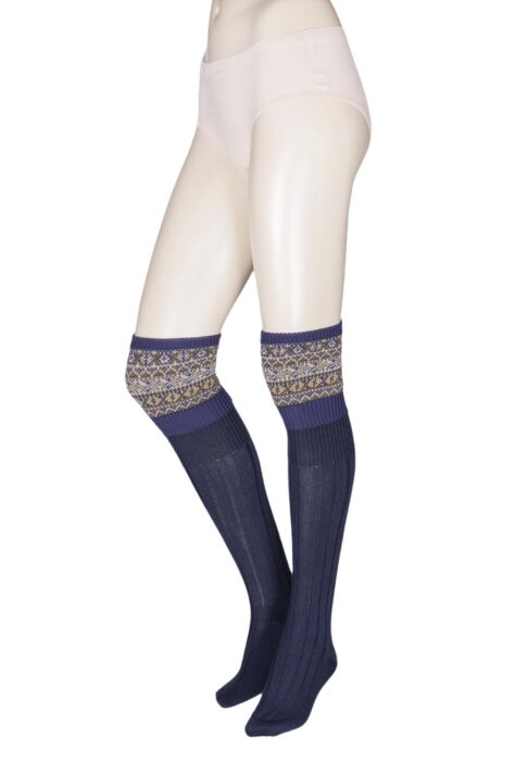 Ladies 1 Pair HJ Hall UK Made Fairisle Merino Wool Shooting Knee High Socks Product Image