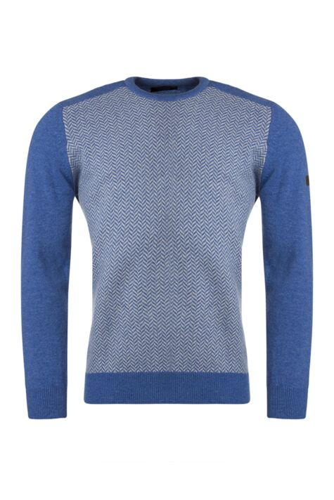 Mens Great & British Knitwear Herringbone Crew Neck Jumper with Harris Tweed Elbow Patches Product Image