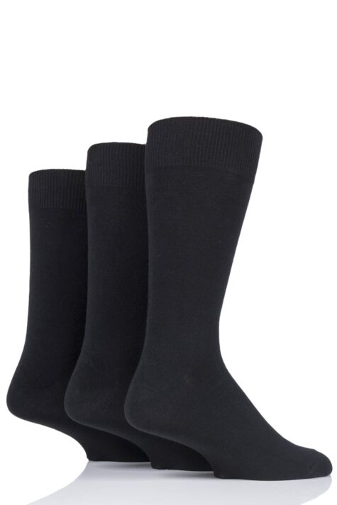Mens 3 Pair HJ Hall Classic Plain Cotton Socks In Large Sizes Product Image