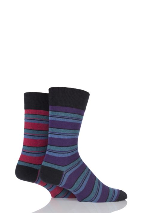 Mens 2 Pair HJ Hall Generation V Cotton Boscastle Striped Socks Product Image