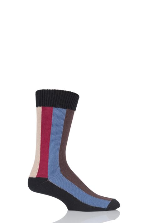 Mens 1 Pair HJ Hall Rainbow Vertical Striped Socks Product Image