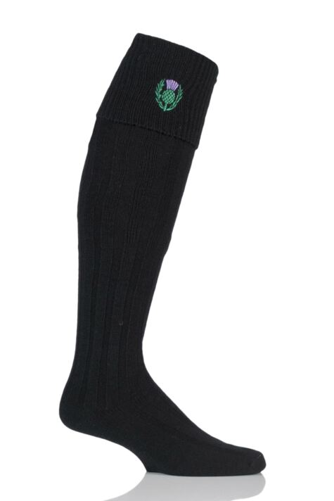 Mens 1 Pair HJ Hall Thistle Wool Mix Kilt Socks Product Image
