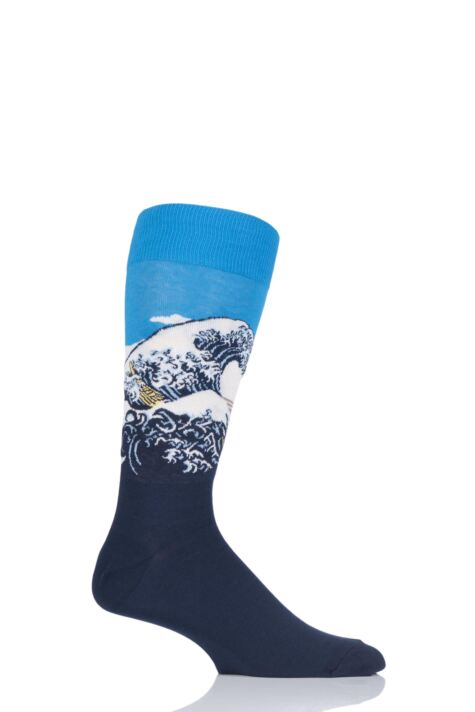 Mens 1 Pair HotSox Artist Collection Great Wave Cotton Socks Product Image
