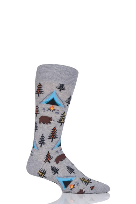 Mens 1 Pair HotSox All Over Camping Cotton Socks Product Image