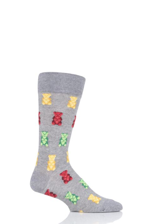 Mens 1 Pair HotSox All Over Gummy Bears Cotton Socks Product Image