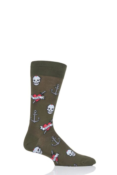 Mens 1 Pair HotSox Old School Tattoo Mom Cotton Socks Product Image