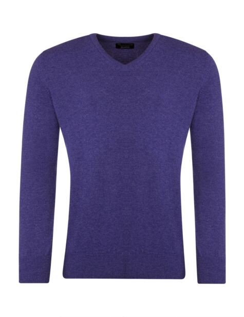 Mens Great & British Knitwear 100% Lambswool Plain V Neck Jumper Pinks and Purples Product Image