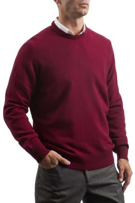 Mens Great & British Knitwear 100% Lambswool Plain Crew Neck Jumper Red Orange and Yellow Product Image