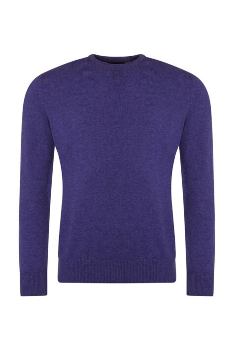 Mens Great & British Knitwear 100% Lambswool Plain Crew Neck Jumper Pinks and Purples Product Image