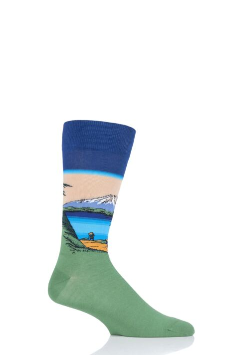 Mens 1 Pair HotSox Artist Collection MT. Fuji Over A Lake - Katsushika Hokusai Cotton Socks Product Image