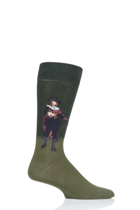 Mens 1 Pair HotSox Artist Collection The Night Watch Captain - Rembrandt Cotton Socks Product Image