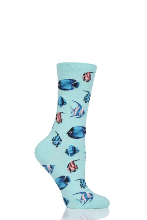 Ladies 1 Pair HotSox Tropical Fish Cotton Socks Product Image