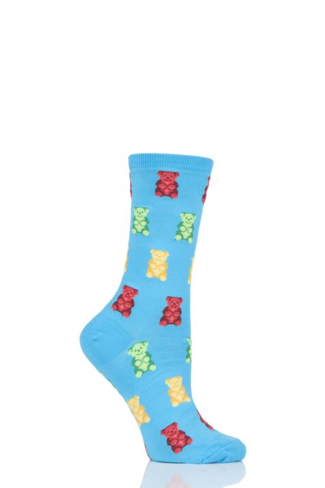 Ladies 1 Pair HotSox All Over Gummy Bears Cotton Socks Product Image