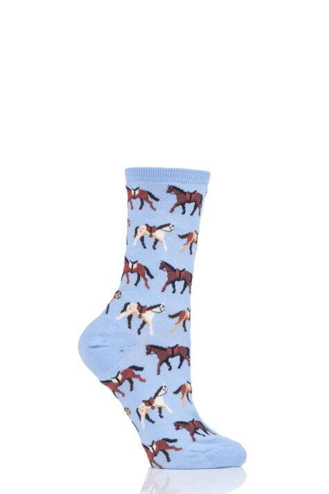 Ladies 1 Pair HotSox All Over Horses Cotton Socks Product Image