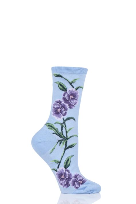 Ladies 1 Pair HotSox Pansies All Over Flower Cotton Socks Product Image